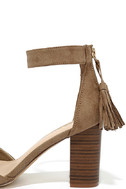 Zoey Taupe Suede Ankle Strap Heels 7