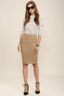 Superpower Tan Suede Pencil Skirt 2