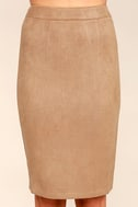 Superpower Tan Suede Pencil Skirt 4