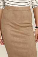 Superpower Tan Suede Pencil Skirt 5