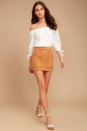 Simply Perf Tan Suede Mini Skirt 2
