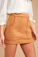 Simply Perf Tan Suede Mini Skirt 5