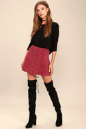 Made with Moxie Wine Red Corduroy Mini Skirt 2