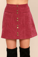 Made with Moxie Wine Red Corduroy Mini Skirt 4