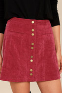 Made with Moxie Wine Red Corduroy Mini Skirt 5