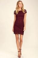 Hidden Talent Backless Burgundy Lace Dress 2