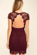 Hidden Talent Backless Burgundy Lace Dress 4