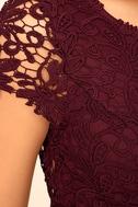 Hidden Talent Backless Burgundy Lace Dress 6