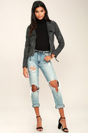 Ready For Anything Charcoal Grey Suede Moto Jacket 2