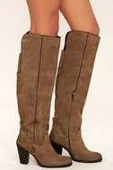 Mia Nigel Taupe Suede Leather Knee High Boots 3