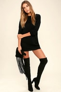 Bringing Sexy Back Black Backless Sweater Dress 2