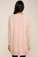 Blush Pink Sweater - V-Neck Sweater - Oversized Sweater - $42.00