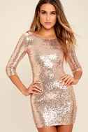 World's a Stage Rose Gold Sequin Dress 1