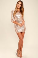 World's a Stage Rose Gold Sequin Dress 2