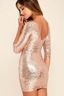World's a Stage Rose Gold Sequin Dress 3