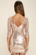 World's a Stage Rose Gold Sequin Dress 4
