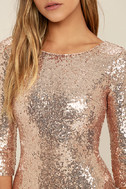 World's a Stage Rose Gold Sequin Dress 5