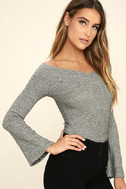 Lucky Star Heather Grey Off-the-Shoulder Top 3