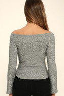 Lucky Star Heather Grey Off-the-Shoulder Top 4