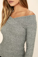 Lucky Star Heather Grey Off-the-Shoulder Top 5