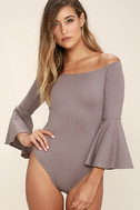 Good One Taupe Off-the-Shoulder Bodysuit 3