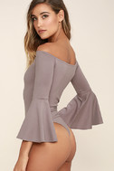 Good One Taupe Off-the-Shoulder Bodysuit 4