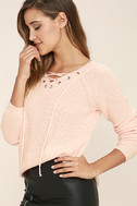 Welcome Home Peach Lace-Up Sweater 3