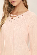 Welcome Home Peach Lace-Up Sweater 5