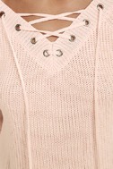 Welcome Home Peach Lace-Up Sweater 6