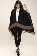 Precipice Palace Taupe and Navy Blue Poncho 3