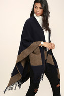 Precipice Palace Taupe and Navy Blue Poncho 4