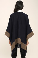 Precipice Palace Taupe and Navy Blue Poncho 5