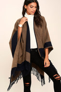 Precipice Palace Taupe and Navy Blue Poncho 6