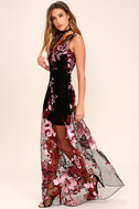 Work the Bloom Wine Red and Black Embroidered Maxi Dress 2