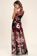 Work the Bloom Wine Red and Black Embroidered Maxi Dress 3