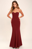 For Infinity Burgundy Strapless Maxi Dress 1