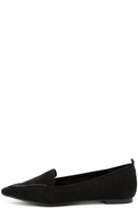Emmy Black Suede Pointed Loafers 2
