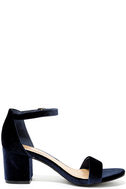 For Real Navy Velvet Ankle Strap Heels 4