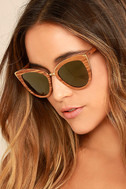 Woodzee Lexi Dark Gold Mirrored Pear Wood Sunglasses 3