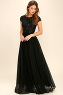L'amour Black Sequin Maxi Dress 1