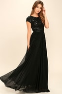 L'amour Black Sequin Maxi Dress 2