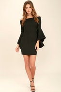 Every Breath You Take Black Off-the-Shoulder Dress 2