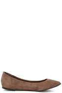 Lucille Taupe Suede Pointed Flats 4