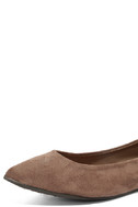 Lucille Taupe Suede Pointed Flats 6