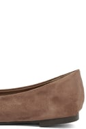 Lucille Taupe Suede Pointed Flats 7