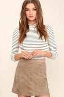 Rhythm Runaway Taupe Suede Mini Skirt 1