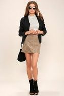 Rhythm Runaway Taupe Suede Mini Skirt 2