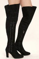 Dolores Black Suede Lace-Up Over the Knee Boots 3
