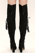 Dolores Black Suede Lace-Up Over the Knee Boots 4