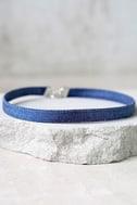 Norma Jean Blue Denim Choker Necklace 2